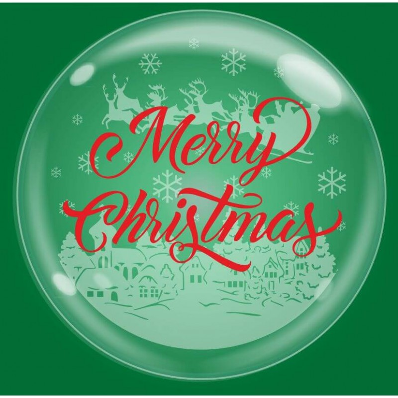 Clear Bubble Balloons Merry Christmas - Cattex