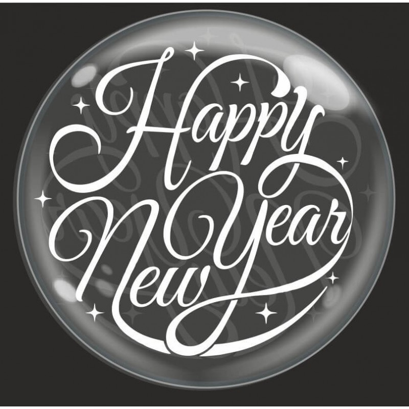 Clear Bubble Balloons With Happy New Year Print By Cattex