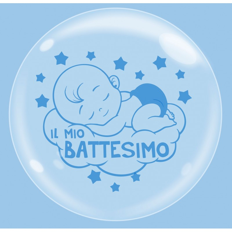 Clear Bubble Balloons Baby Boy Baptism - Cattex