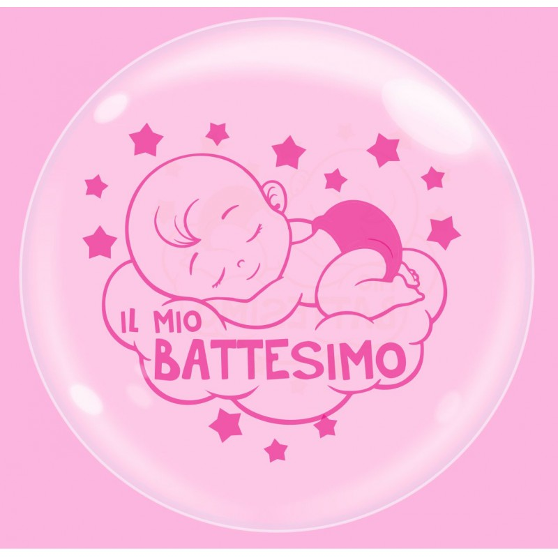 Clear Bubble Balloons Baby Girl Baptism - Cattex