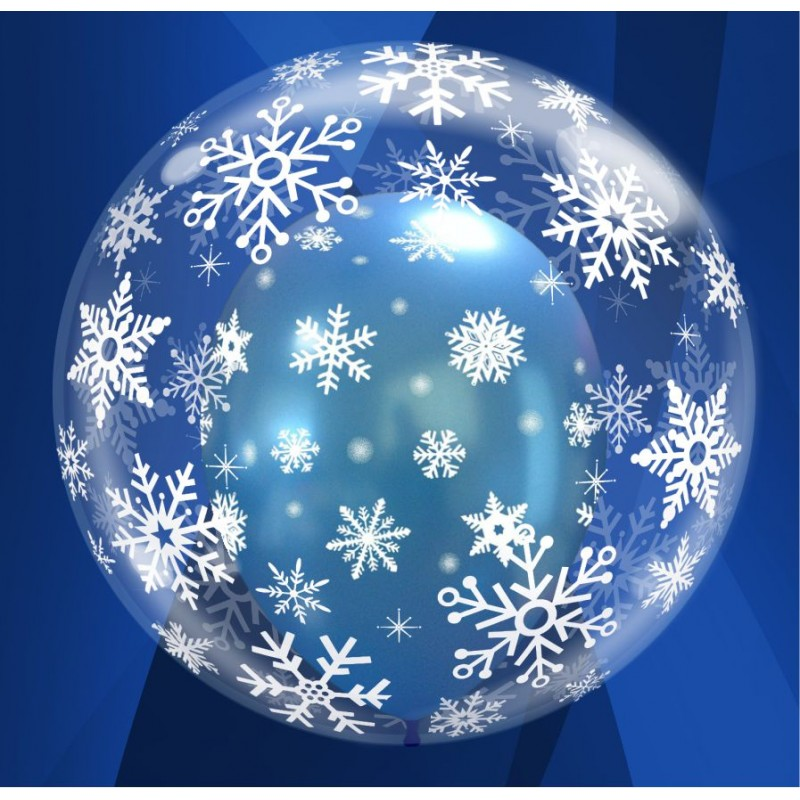 "Snowflake Deco Bubble Balloons (24"")"