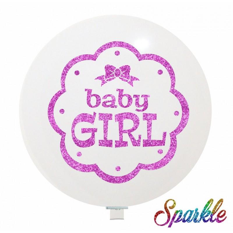 Baby Girl Giant Sparkling Balloons (Cattex)