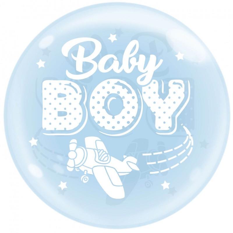Sky Blue 24 Inch Bubble Balloons Baby Boy Plane