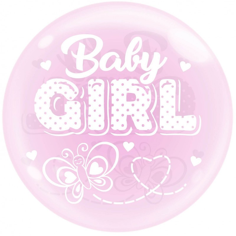 Pink 24 Inch Bubble Balloons Baby Girl Butterfly