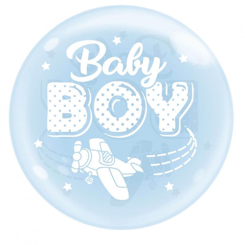 Sky Blue 18 Inch Bubble Balloons Baby Boy Plane