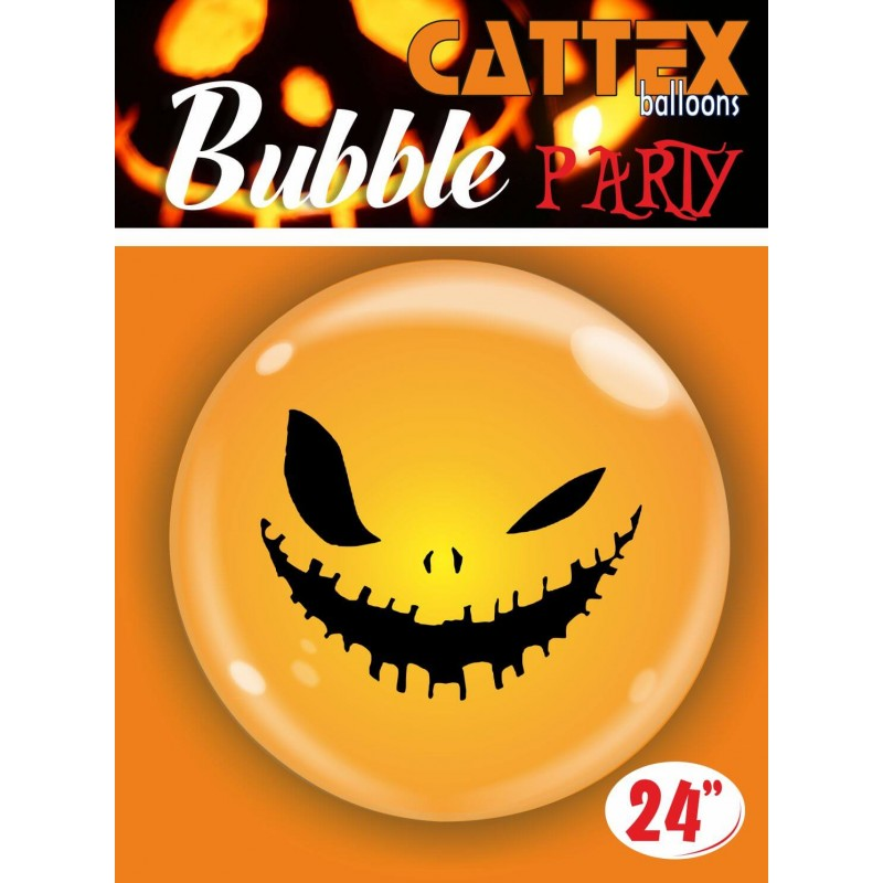 Cattex - 24 Inch Clear Bubble Balloons With A Skeleton Face