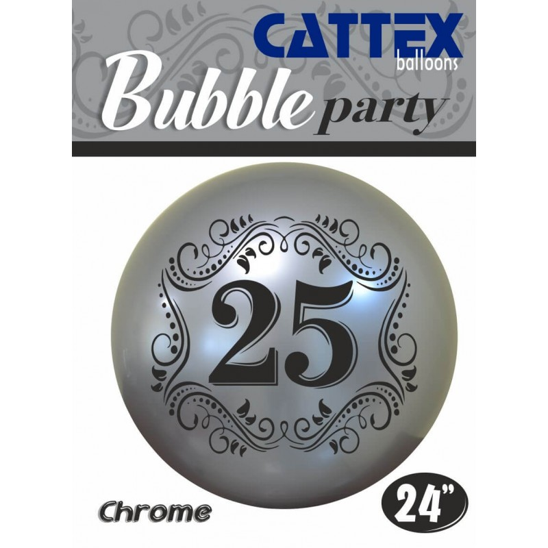 Cattex - 24 Inch Chrome Silver Bubble Balloons With Number 25