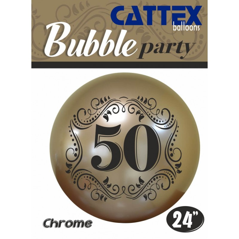Cattex - 24 Inch Chrome Gold Bubble Balloons With Number 50