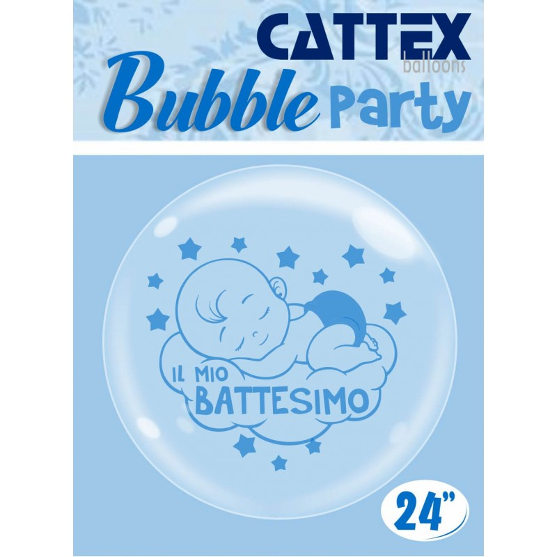 Clear Bubble 24 Inch Balloons Baby Boy Baptism - Cattex