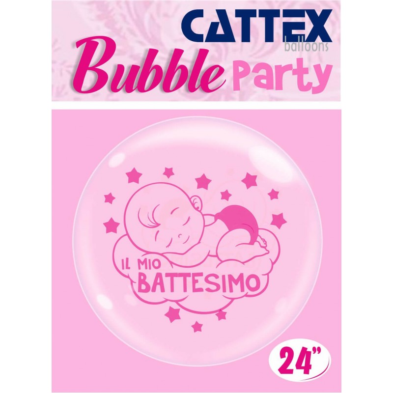 Clear 24 Inch Bubble Balloons Baby Girl Baptism - Cattex