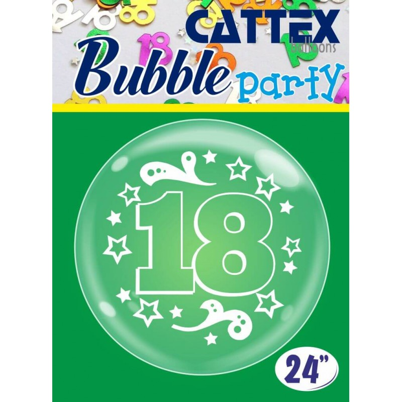 Clear 24 Inch Bubble Balloons 18th Birthday by Cattex