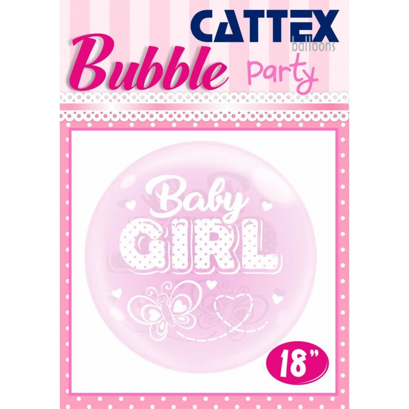 Pink 18 Inch Bubble Balloons Baby Girl Butterfly