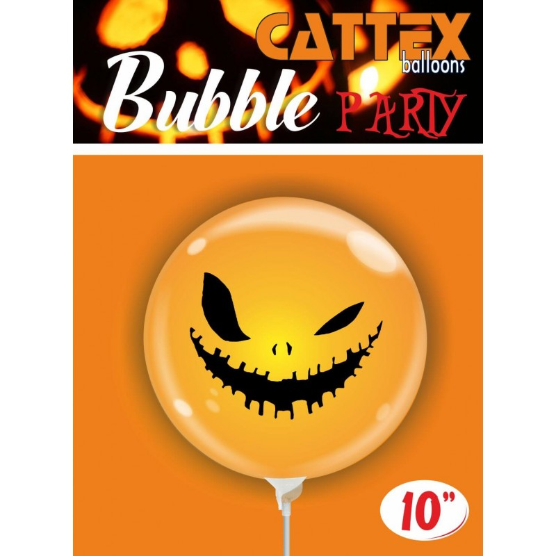 Cattex - 10 Inch Clear Bubble Balloons With A Skeleton Face