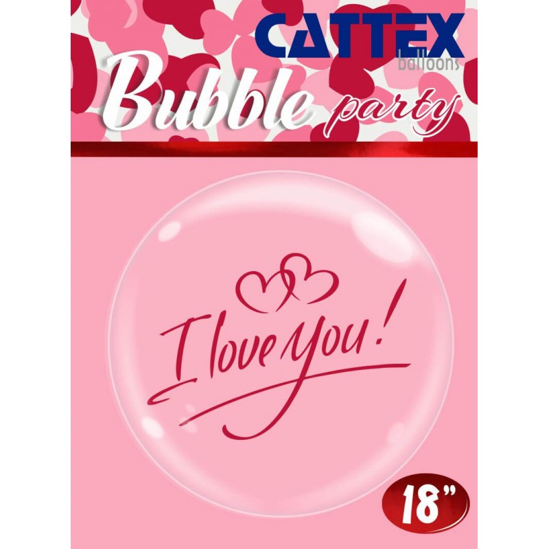 """Clear Bubble Balloons With """"I Love You"""" Print by Cattex"""