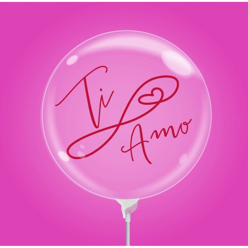 """Clear 10 Inch Bubble Balloons With """"Ti Amo"""" Print by Cattex"""