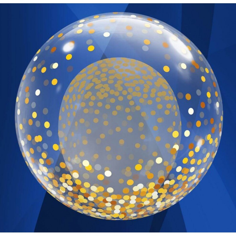 Cattex - 24 Inch Deco Bubble Balloons With Gold Confetti Decoration