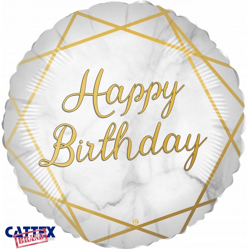 "Cattex - Mylar Balloons Marble Birthday Gold (18"")"