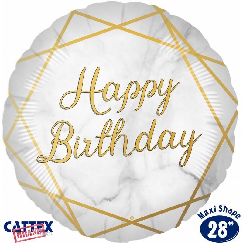 "Cattex - Mylar Balloons Marble Birthday Gold (28"")"