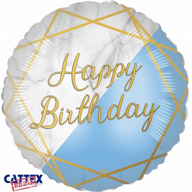 "Cattex - Mylar Balloons Marble Birthday Light Blue (18"")"