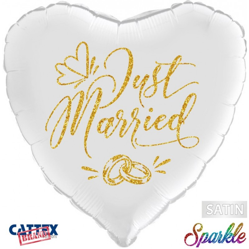 """CTX - Just Married Rings Sparkle (18"""")(PM/SPK117)"""