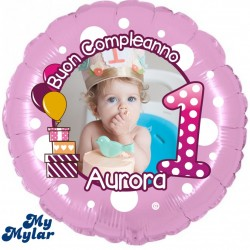 "MyMylar - 1° Compleanno Bimba + Foto (18"")"