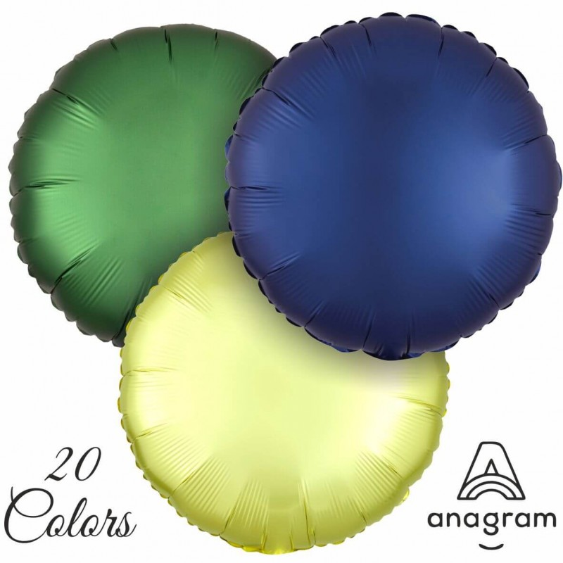 Round Satin Colored Foil Balloons - 18 Inch (Cattex)