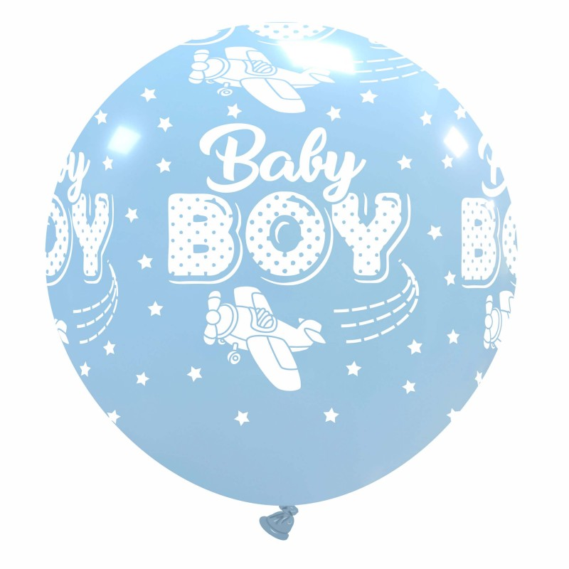 Giant Sky Blue Balloons Baby Boy With Airplane