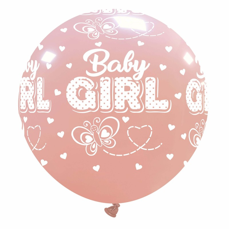 Giant Pink Balloons Baby Girl With Butterfly