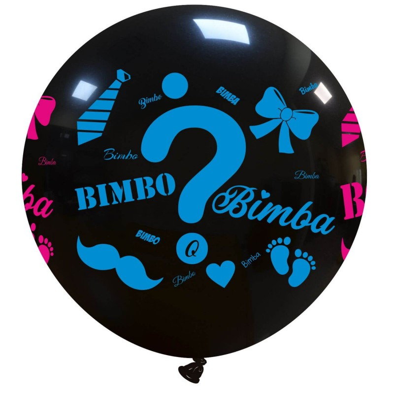 Cattex Giant 34 Inch Black Balloons With Bimbo o Bimba Print