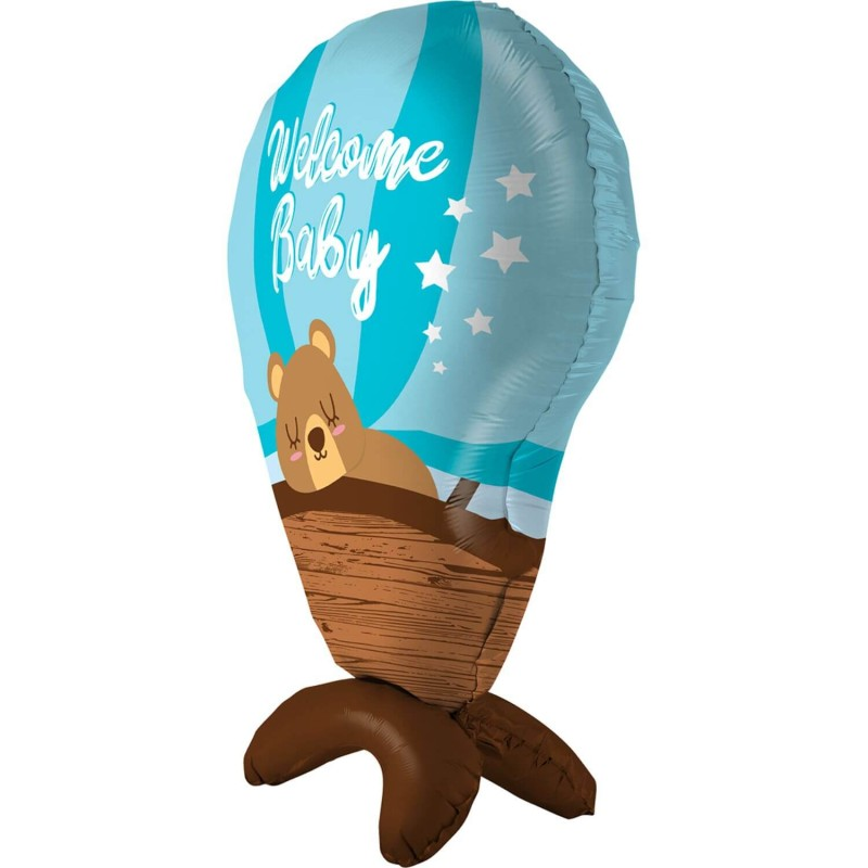 Cattex Blue Hot Air Balloon Shaped Welcome Baby Foil Balloons