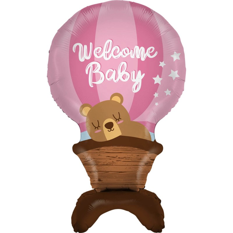 Cattex Pink Hot Air Balloon Shaped Welcome Baby Foil Balloons