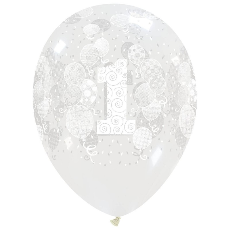 13 Inch Clear Cattex Balloons With First Birthday Print