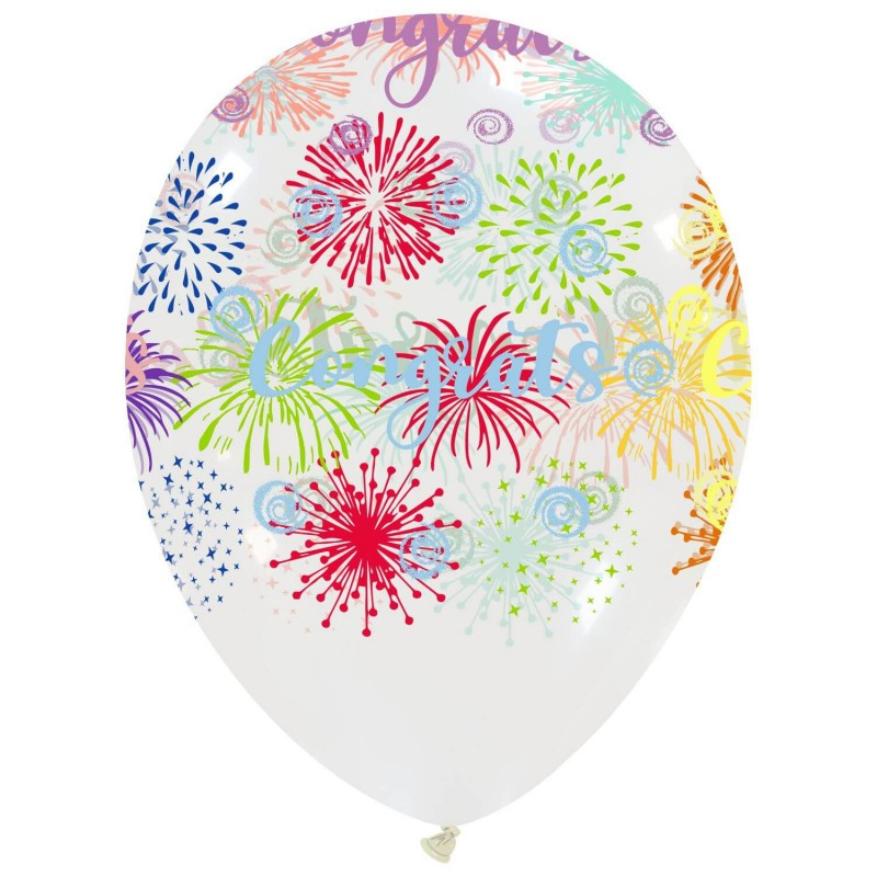 Cattex Congratulations Balloons With Colorful Fireworks