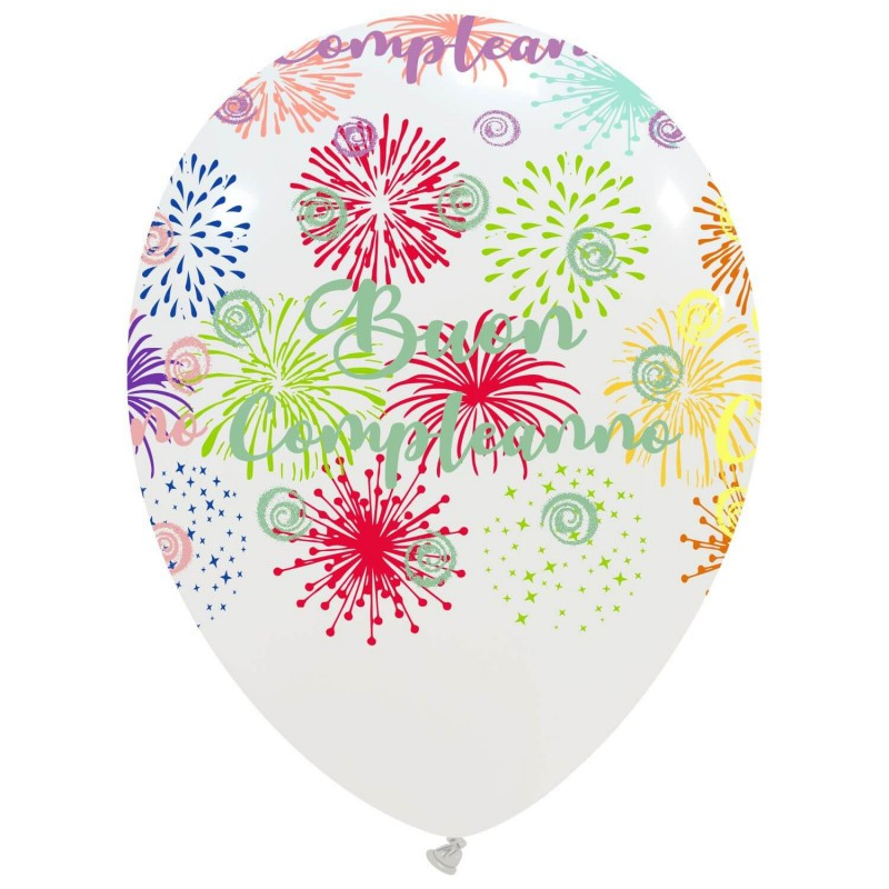 Cattex Buon Compleanno Balloons With Colorful Fireworks