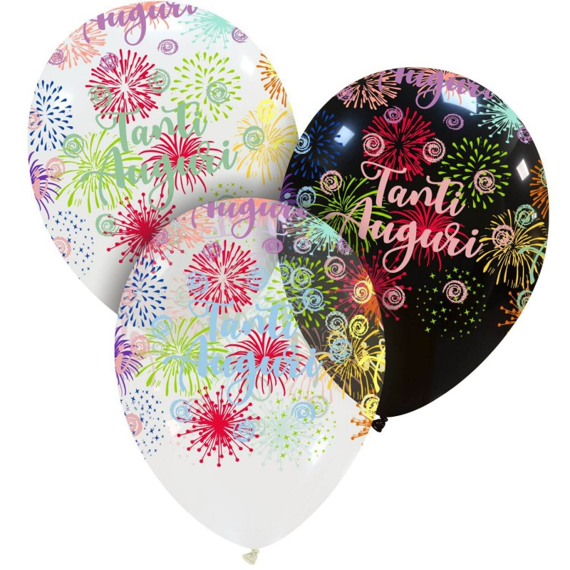 Cattex Tanti Auguri Balloons With Colorful Fireworks