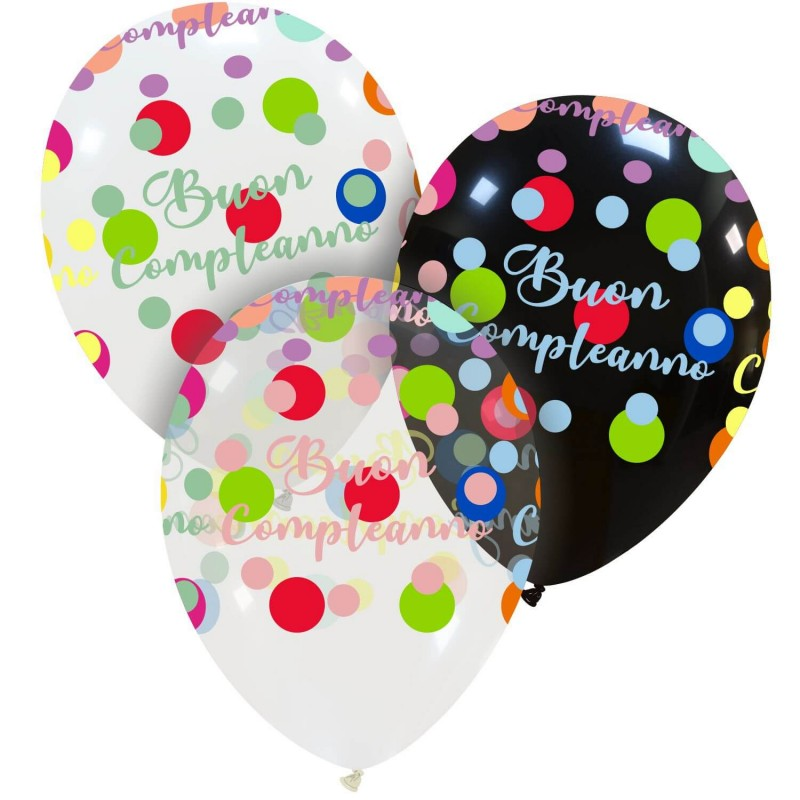 Cattex Buon Compleanno Balloons With Colorful Polka Dots