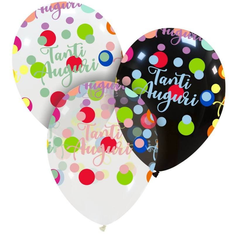 Cattex Tanti Auguri Balloons With Colorful Polka Dots