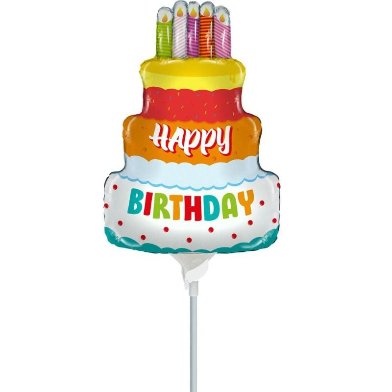 Cattex Birthday Cake Minishape Foil Balloons
