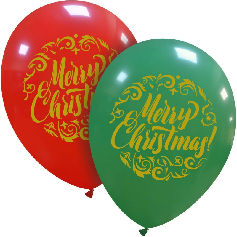 Merry Christmas Balloons Printed Gold - Cattex