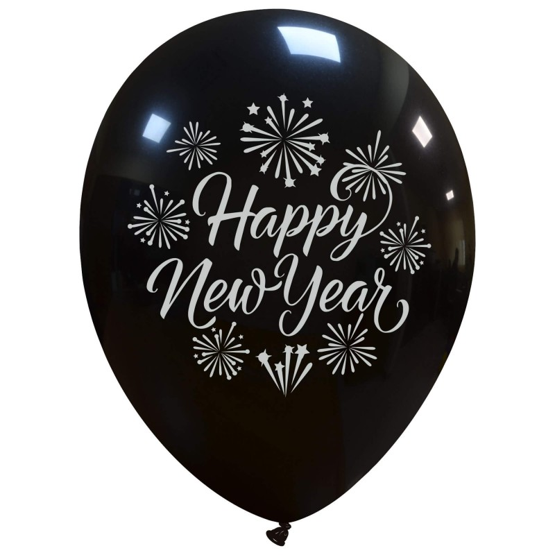 Happy New Year Balloons Silver Print - Cattex
