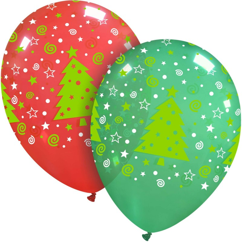 Cattex crystal balloons with Christmas tree print