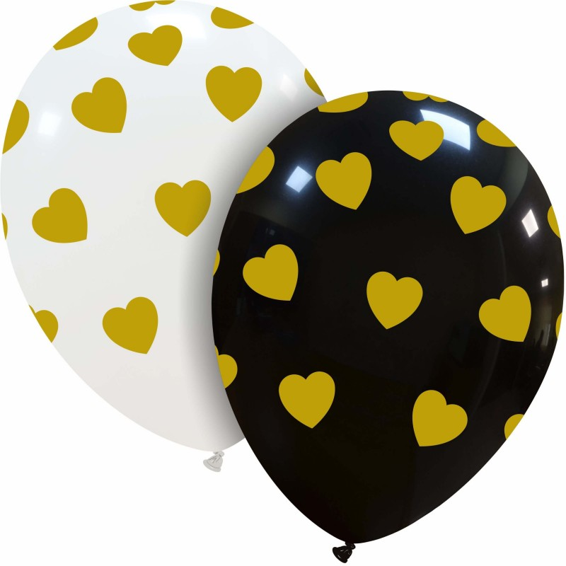 12 Inch Latex Cattex Balloons With Golden Hearts Print