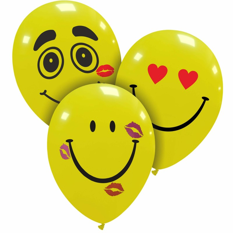 Cattex Yellow Latex Balloons With Romantic Smiley Faces By Cattex