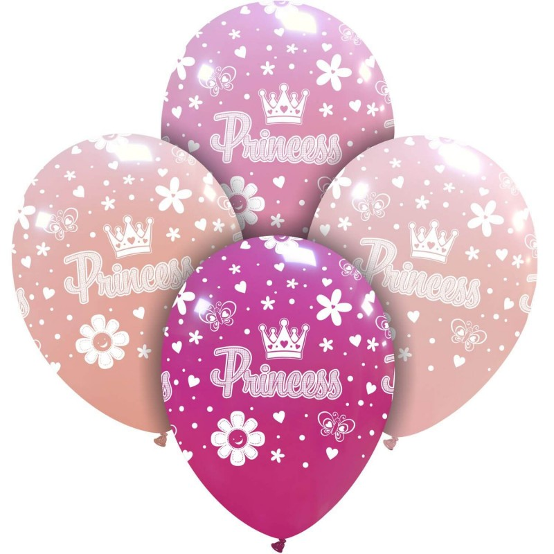 Cattex 12 Inch Pink Balloons With Princess Print