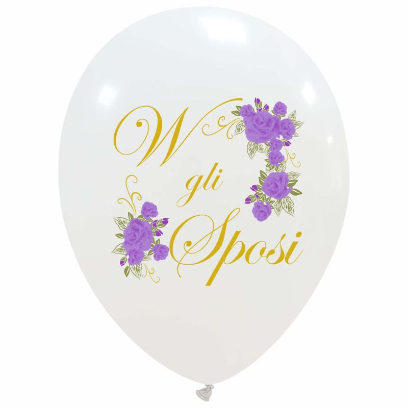 Cattex White Balloons With Colorful Just Married Print