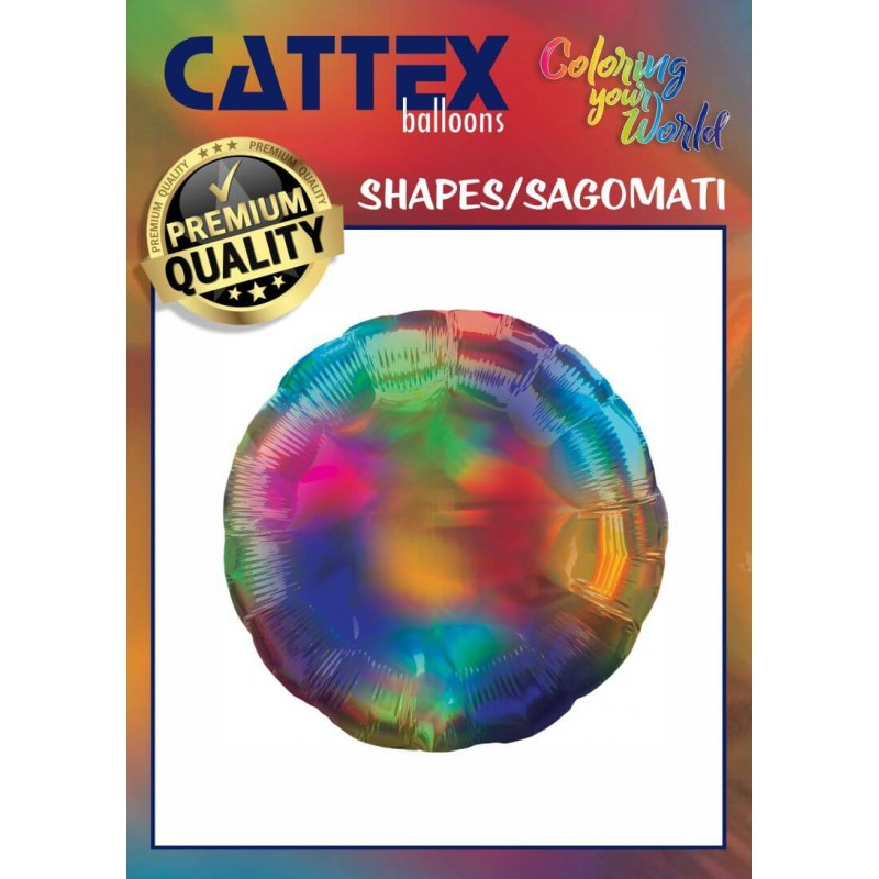 Cattex - 18 Inch Iridescent Colored Round Foil Balloons